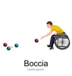 Disabled athlete on wheelchair play boccia sport vector
