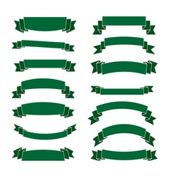 Green ribbon banners set beautiful blank vector