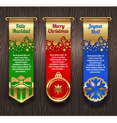 Banners with christmas greetings and signs vector