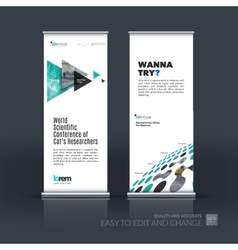 Business set of modern roll up banner stand vector