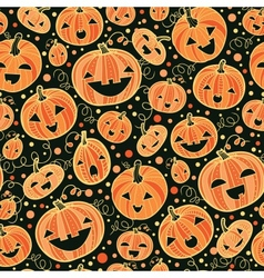 Halloween pumpkins seamless pattern background vector