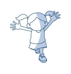 Happy cute child girl cartoon character vector