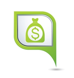 Bag of money icon on green map pointer vector
