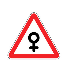 Attention woman female sign on red triangle road vector