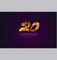 20 twenty gold golden number numeral digit logo vector