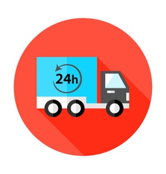 Truck 24 hour shipping flat circle icon vector