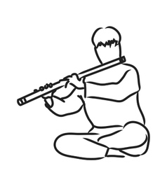 Indian musician playing flute vector