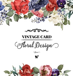 Greeting card with roses watercolor can be used as vector image
