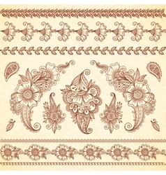 Indian mehndi tattoo style floral ornaments set vector