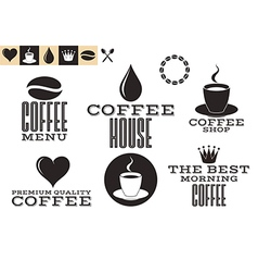 Coffee icons and labels vector