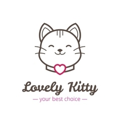 Cute linear cat head logo vector