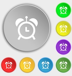 Alarm clock icon sign symbol on eight flat buttons vector