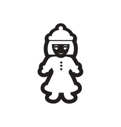 Flat icon in black and white girl winter clothes vector