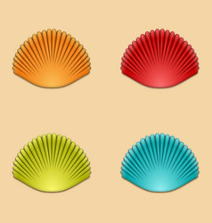 Modern shells set on orange vector
