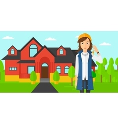 Real estate agent with key vector