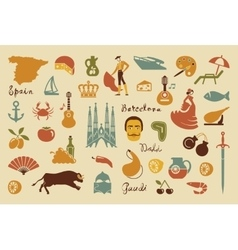 Traditional symbols of spain vector