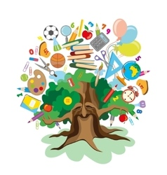 back to school - tree with education icons vector image