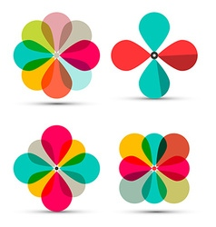 Abstract Retro Flowers Symbols Set Isolated vector image