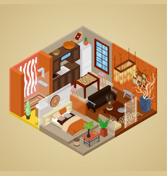 African style interior design isometric vector