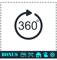 Angle 360 degrees icon flat vector