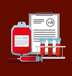 Blood bag syringe test tube and clipboard report vector