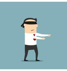 Businessman walking with black blindfold vector