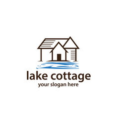cottage with water logo vector image