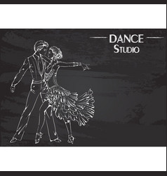 Dance line chalk ballroom dancing latina vector