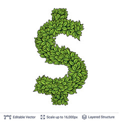 Dollar currency sign of green leaves vector
