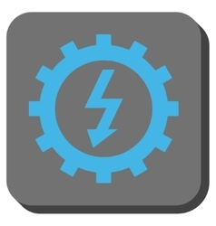 Electric energy cog wheel rounded square button vector
