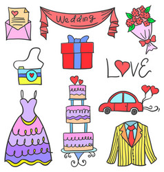 Element wedding pasrty of doodles vector