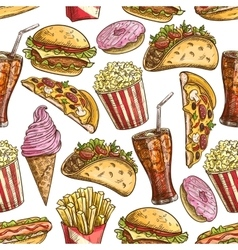 Fast food sketched snacks seamless pattern vector