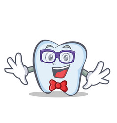 Geek tooth character cartoon style vector