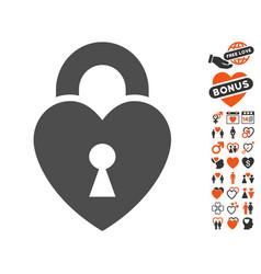 Heart lock icon with valentine bonus vector