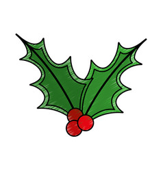 leafs christmas decoration icon vector image vector image