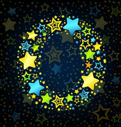 Letter o cartoon star colored vector