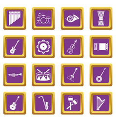 musical instruments icons set purple vector image