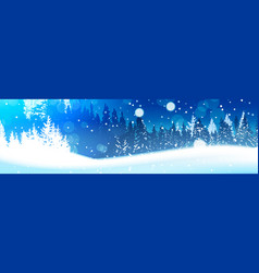night in winter forest woodland landscape falling vector image