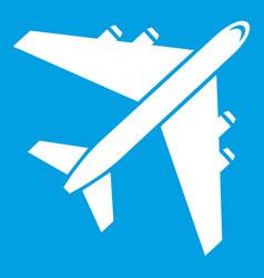 Passenger airliner icon white vector