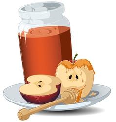 Rosh hashanah honey jar and apples vector
