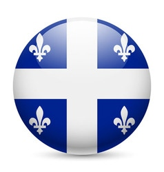 Round glossy icon of quebec vector