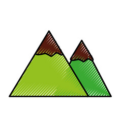 Scribble mountain cartoon vector