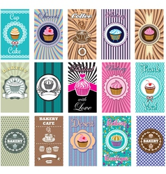 Set of business cards for bakery coffee vector