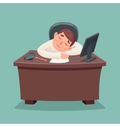 Sleep businessman tired and fell asleep on the vector image vector image