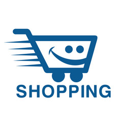 smiling shopping cart logo design vector image