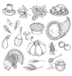 Thanksgiving sketch isolated icons vector image vector image