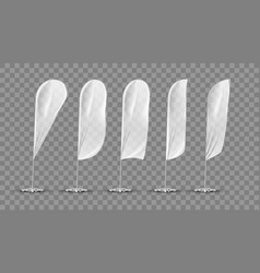 Transparent white blank expo banner flag template vector