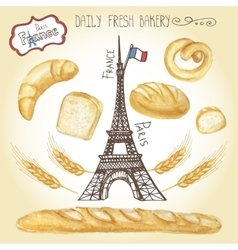 Watercolor french pastry bread seteiffel tower vector