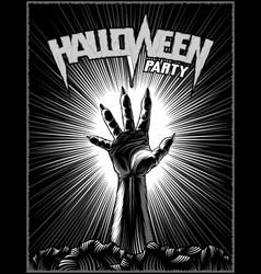 Zombie hand halloween party horror print poster vector