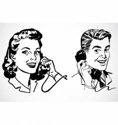 retro phone conversation vector image